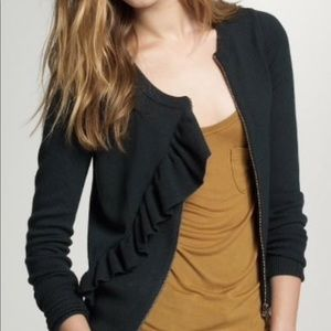 J. Crew Wool Open Front Ruffle Zipper Cardigan